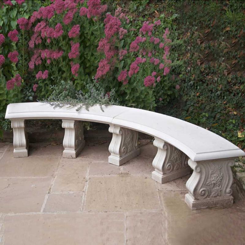 antik garten steinbank halbrund oxford park. Black Bedroom Furniture Sets. Home Design Ideas