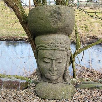 Asiatische gartendeko steinkopf aus naturstein for Gartendeko auf rechnung