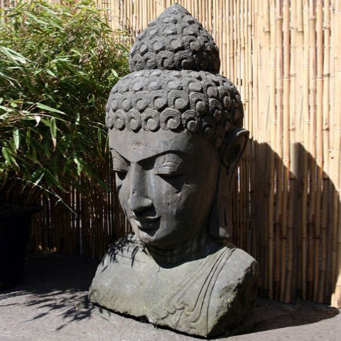 Deko buddha kopf aus lavastein shama Buddha kopf deko
