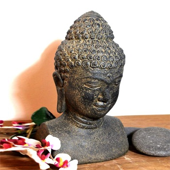 deko buddha kopf aus steinguss mit antikfinish. Black Bedroom Furniture Sets. Home Design Ideas