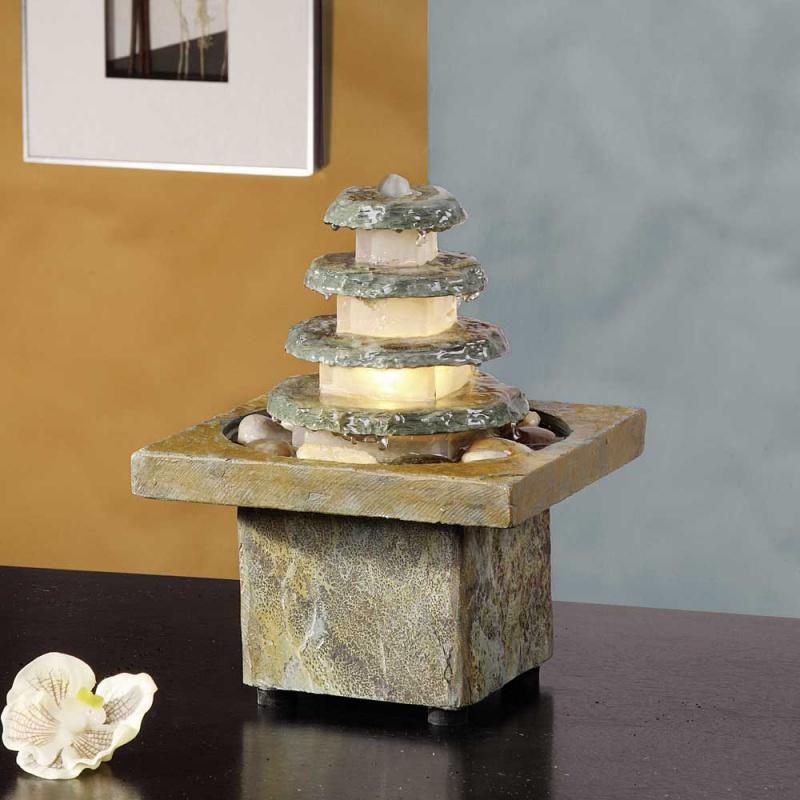 kaskaden zimmerbrunnen mit beleuchtung satoko. Black Bedroom Furniture Sets. Home Design Ideas