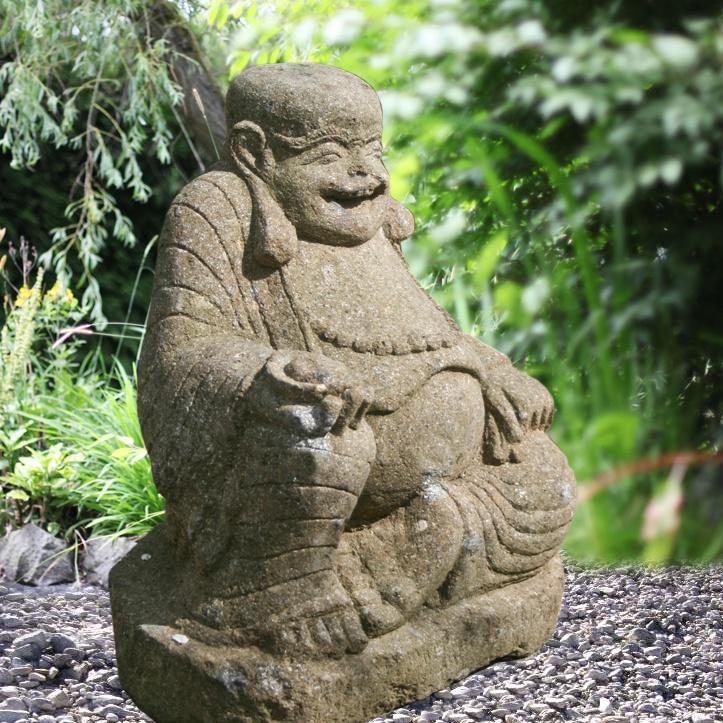Lachender Buddha Kajjali Als Steinfigur Handbehauen
