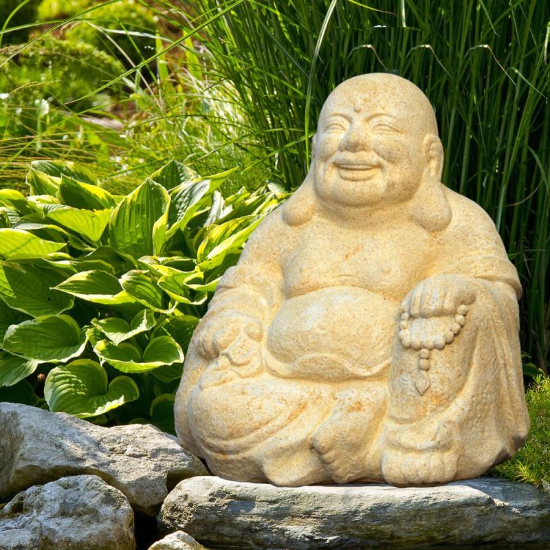 Lucky buddha figur aus stein samadhi - Buddha figur garten ...