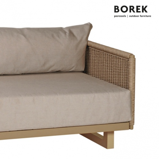 gartensofa von borek 2 sitzer aluminium beige portofino zweiersofa links. Black Bedroom Furniture Sets. Home Design Ideas