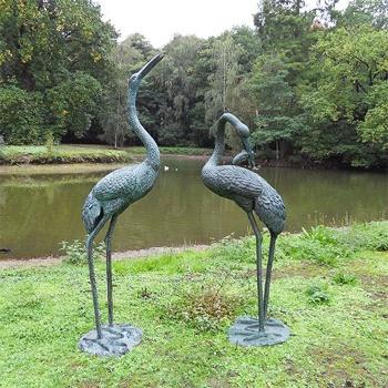 Gro es bronze gartenfiguren set mit zwei kranichen v gel des gl cks - Gartenskulpturen metall ...