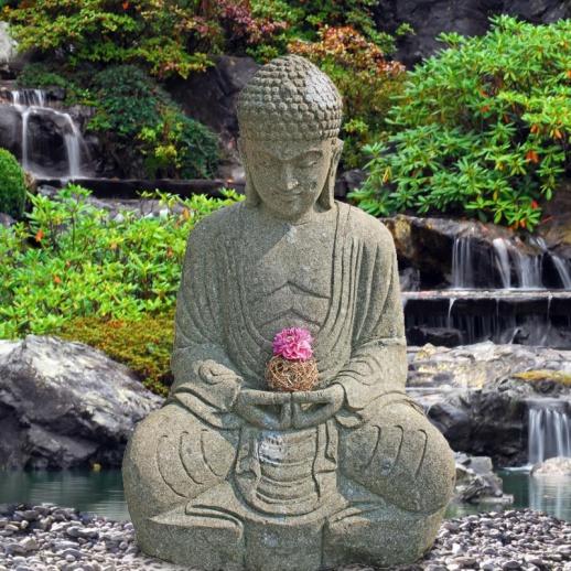 kunstvoller sitzender buddha aus stein teratei. Black Bedroom Furniture Sets. Home Design Ideas