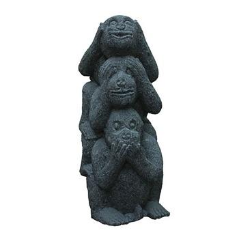 skulptur der drei affen aus stein sambiki. Black Bedroom Furniture Sets. Home Design Ideas
