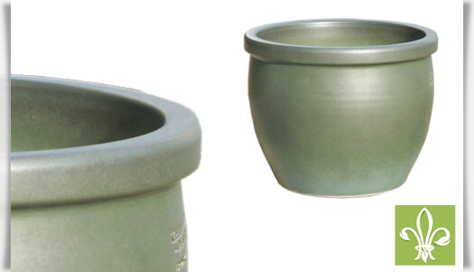Runder Pflanzkübel aus Steinzeug in grün • Gartentraum.de