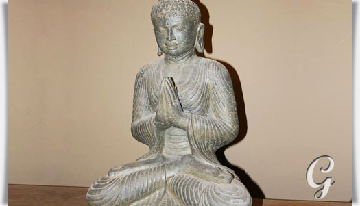 betende buddha figur aus antik steinguss bindra. Black Bedroom Furniture Sets. Home Design Ideas