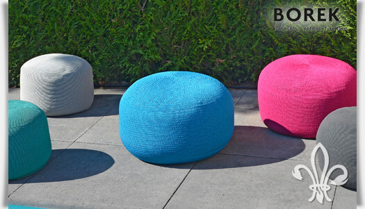 garten sitzhocker crochette in t rkis. Black Bedroom Furniture Sets. Home Design Ideas