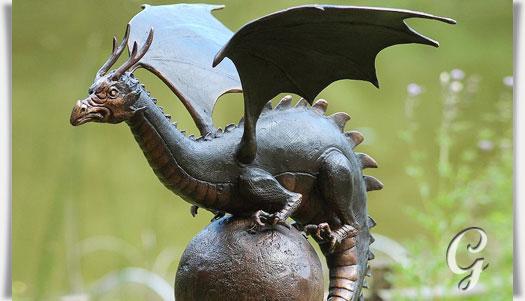 Hochwertige Garten Drachenfigur Aus Bronze Mortiferus Gartentraumde