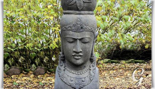 Asiatische gartenfigur kopf einer frau aus stein for Gartenfiguren stein