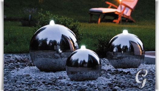edelstahl kugelbrunnen mit led beleuchtung kent. Black Bedroom Furniture Sets. Home Design Ideas