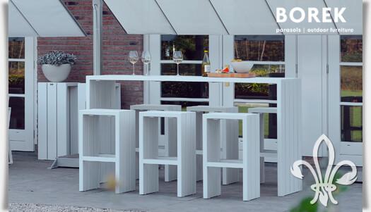 Outdoor Bartisch mit Hockern für Garten & Terrasse | Gartentraum.de