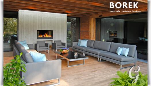 Design Gartenlounge Couch Modul von Borek  Edelstahl & Kunststoff