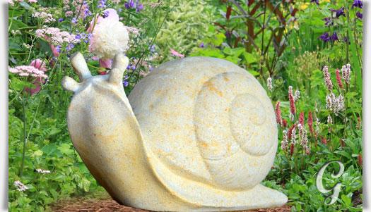 Stein gartenfigur mit schnecke carla Stein deko garten