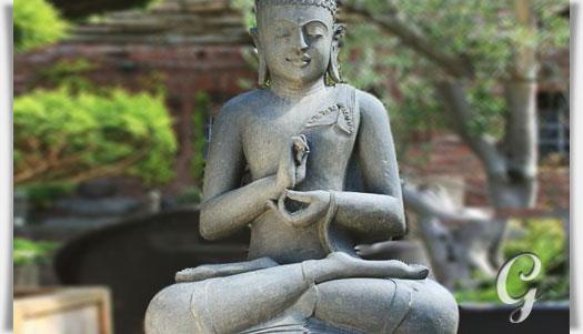 Klassische Buddha Gartenfigur Aus Naturstein Bingchu