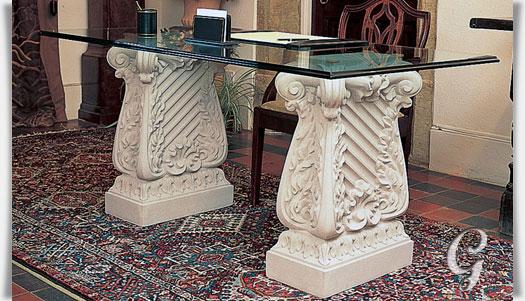 antik stein tisch mit glasplatte claremont. Black Bedroom Furniture Sets. Home Design Ideas