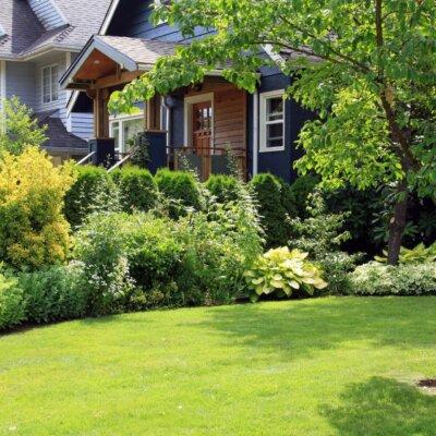 Rasenfläche klar abgetrennt von Blumenbeeten