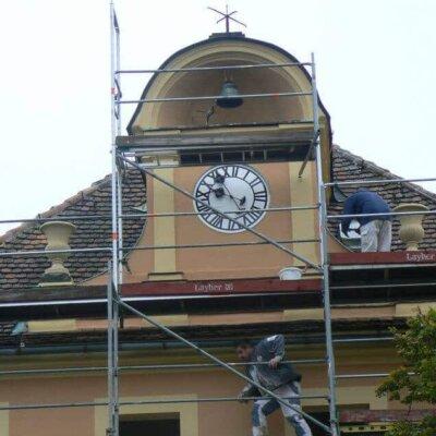 Aufbau der Goethe Amphoren für Schloss Kuppritz