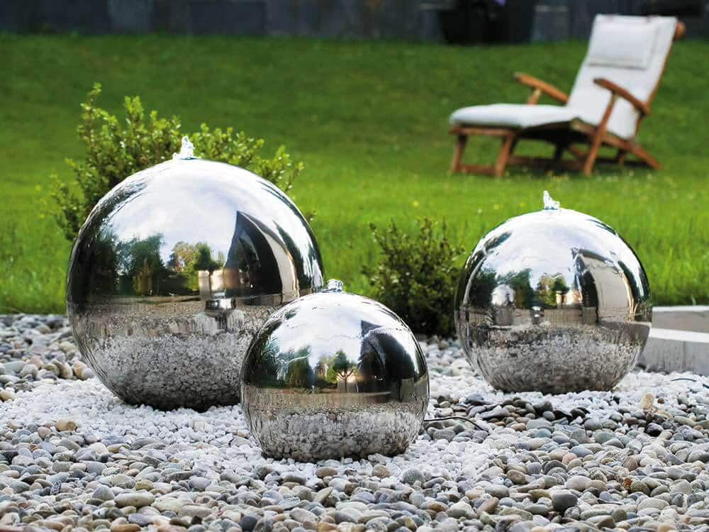 Zierbrunnen-rund-Edelstahl-Gartenbrunnen