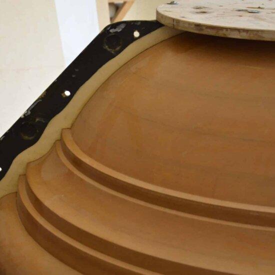 Steinguss-Form im Querschnitt