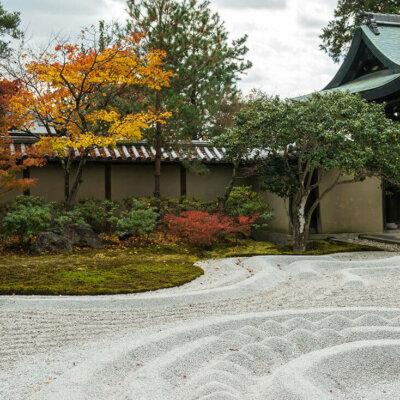 Kiesbett im Zen Garten kunstvoll gestaltet
