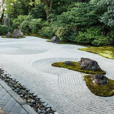 Kiesbett in Kombination mit Pflanzen und großen Steinen