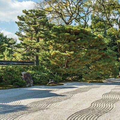 Kiesbett im Zen Garten mit Wellenlinien