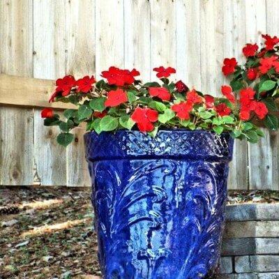 Keramik-Pflanztopf im auffälligen Blau