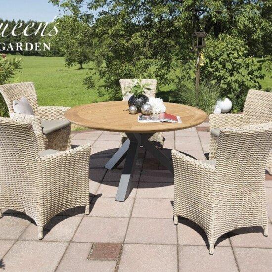 Rundtisch mit Gartenstühlen aus Polyrattan