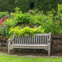 Holzbank vor dekorativem Blumenbeet