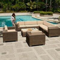 Moderne Terrasse mit Natursteinplatten mit Sitz-Lounge © BOREK