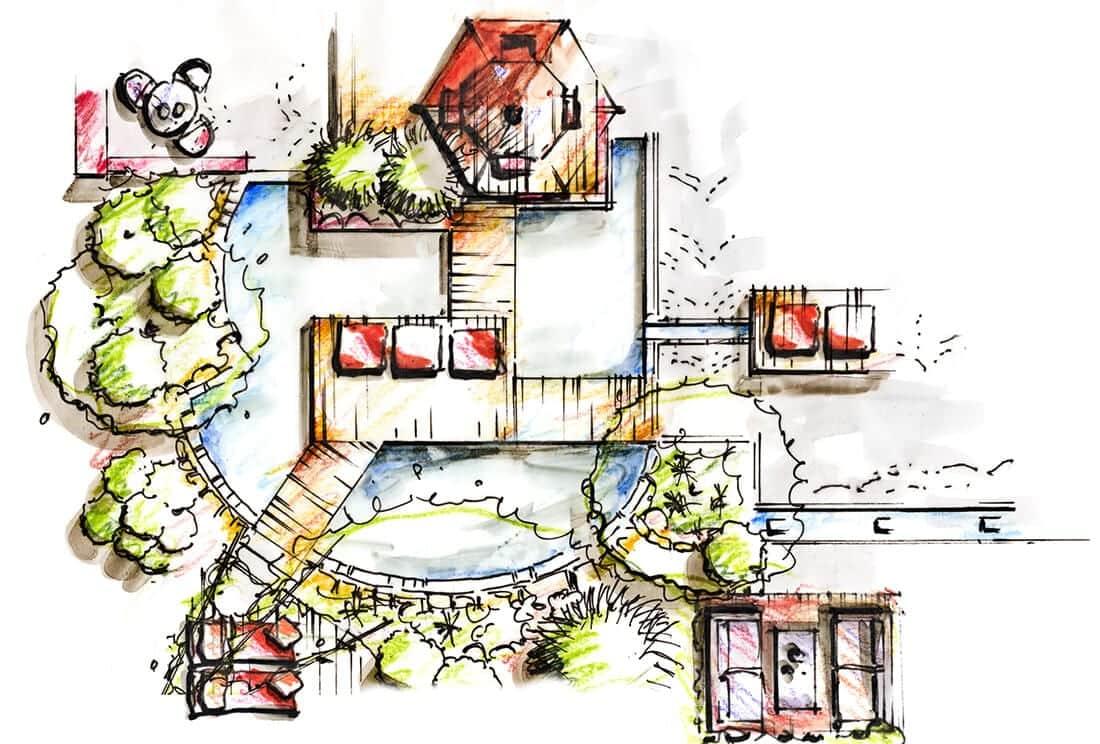Skizze eines Gartens