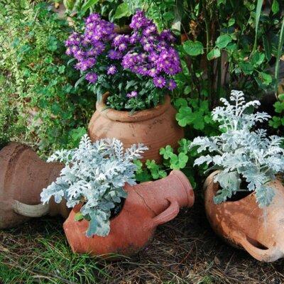 Dekorative Tongefäße für natürliche Bepflanzung im Garten