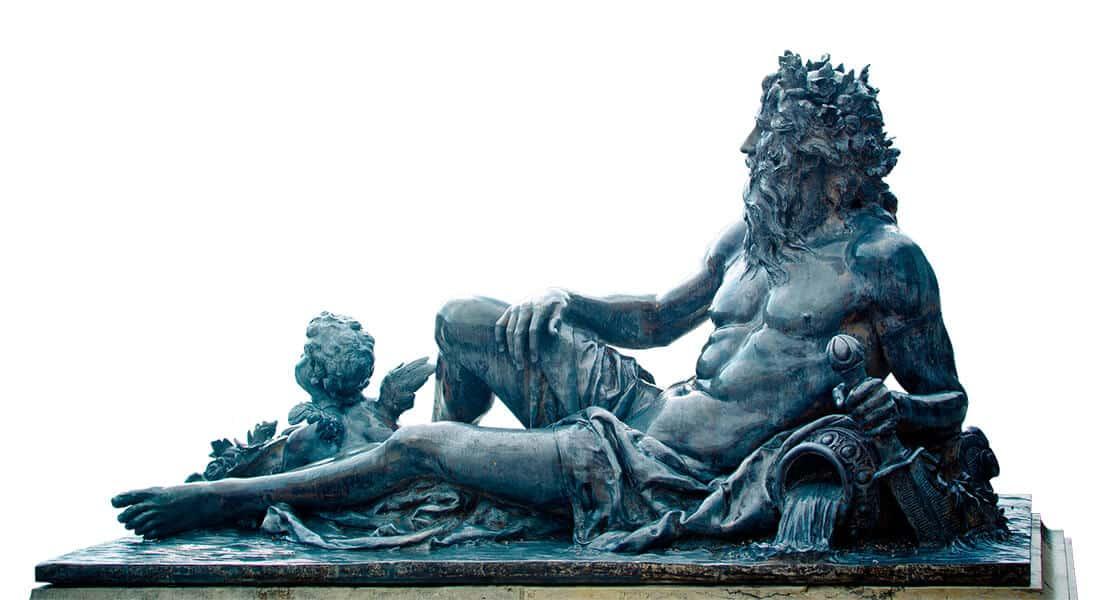 Antike lebensgroße Gartenfigur
