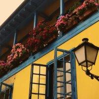 Farbenfroher Balkon mit üppiger Bepflanzung