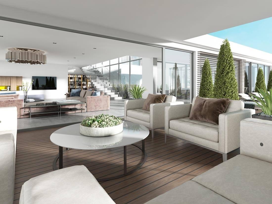 Modern gestalteter Balkon