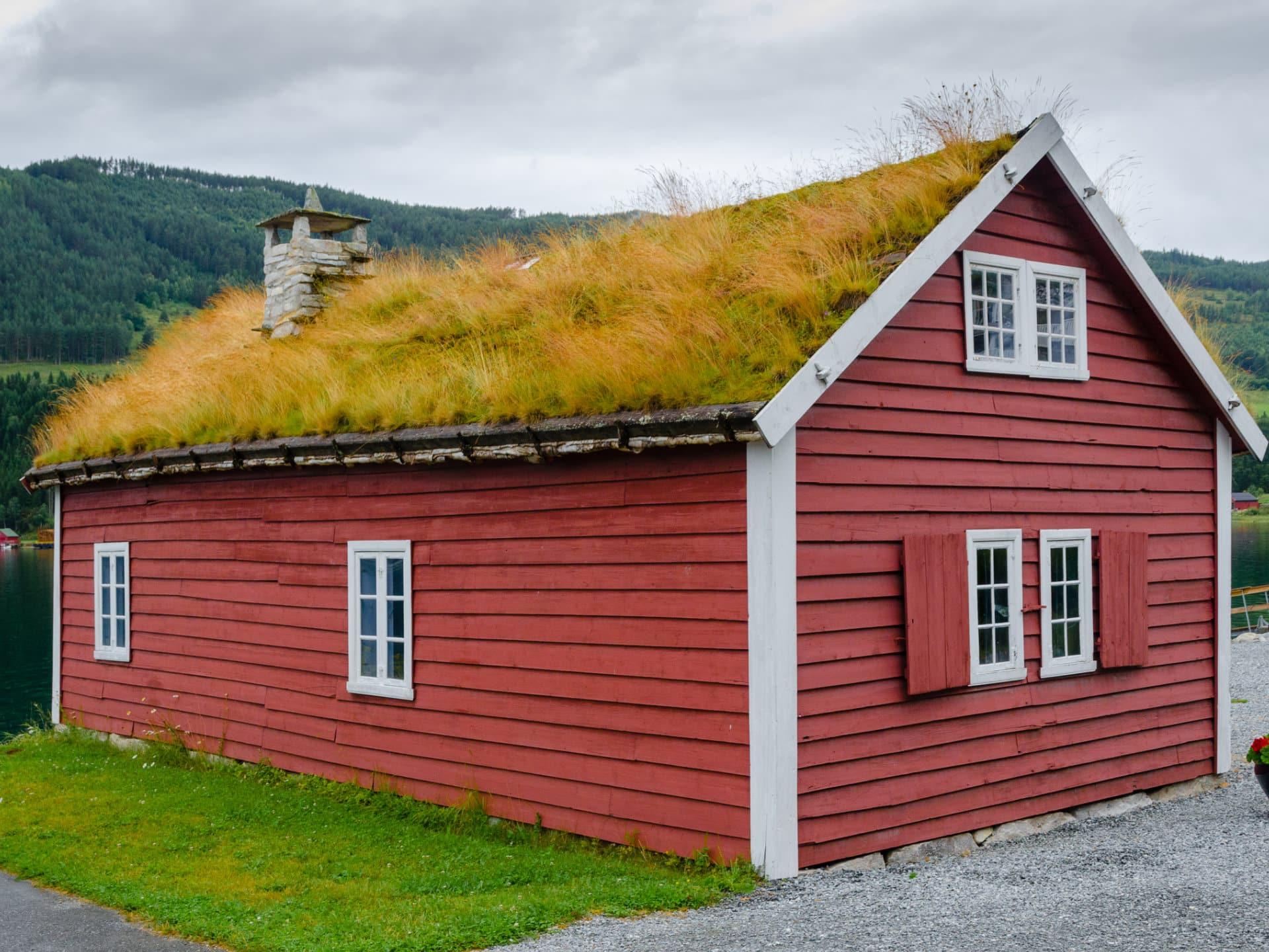 Skandinavisches Holzhaus mit Grasdach © Shutterstock.com - Oleg_Mit