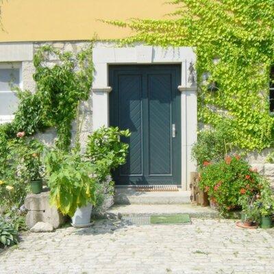 Rustikal gestalteter Hauseingang mit natürlich wachsenden Pflanzen