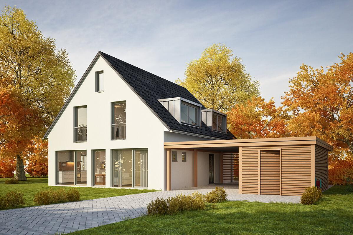 Haus mit Carport und Garage aus Holz