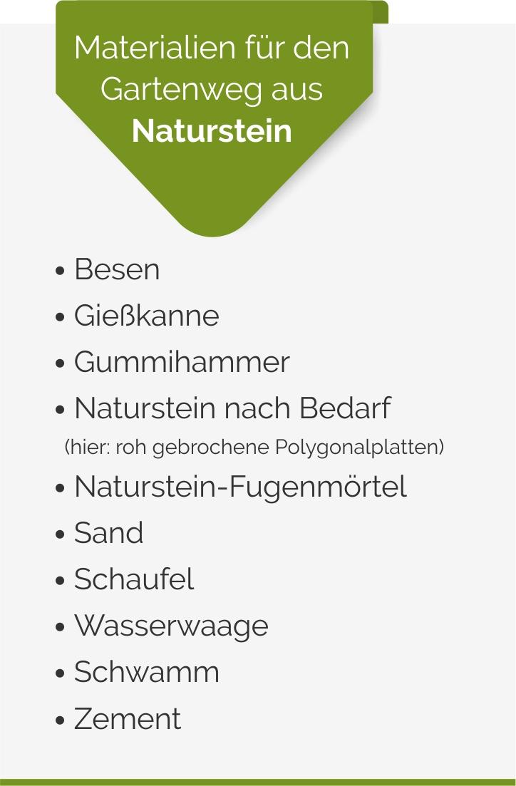 Materialien für einen Gartenweg aus Naturstein im Landhausgarten