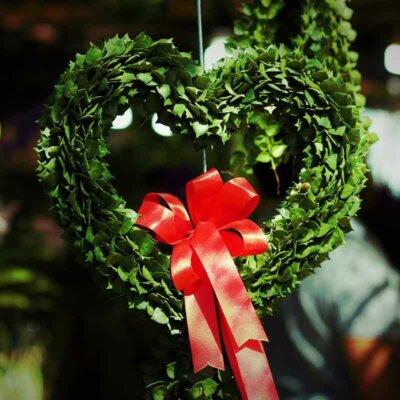 Herzförmiger Buchsbaum-Kranz