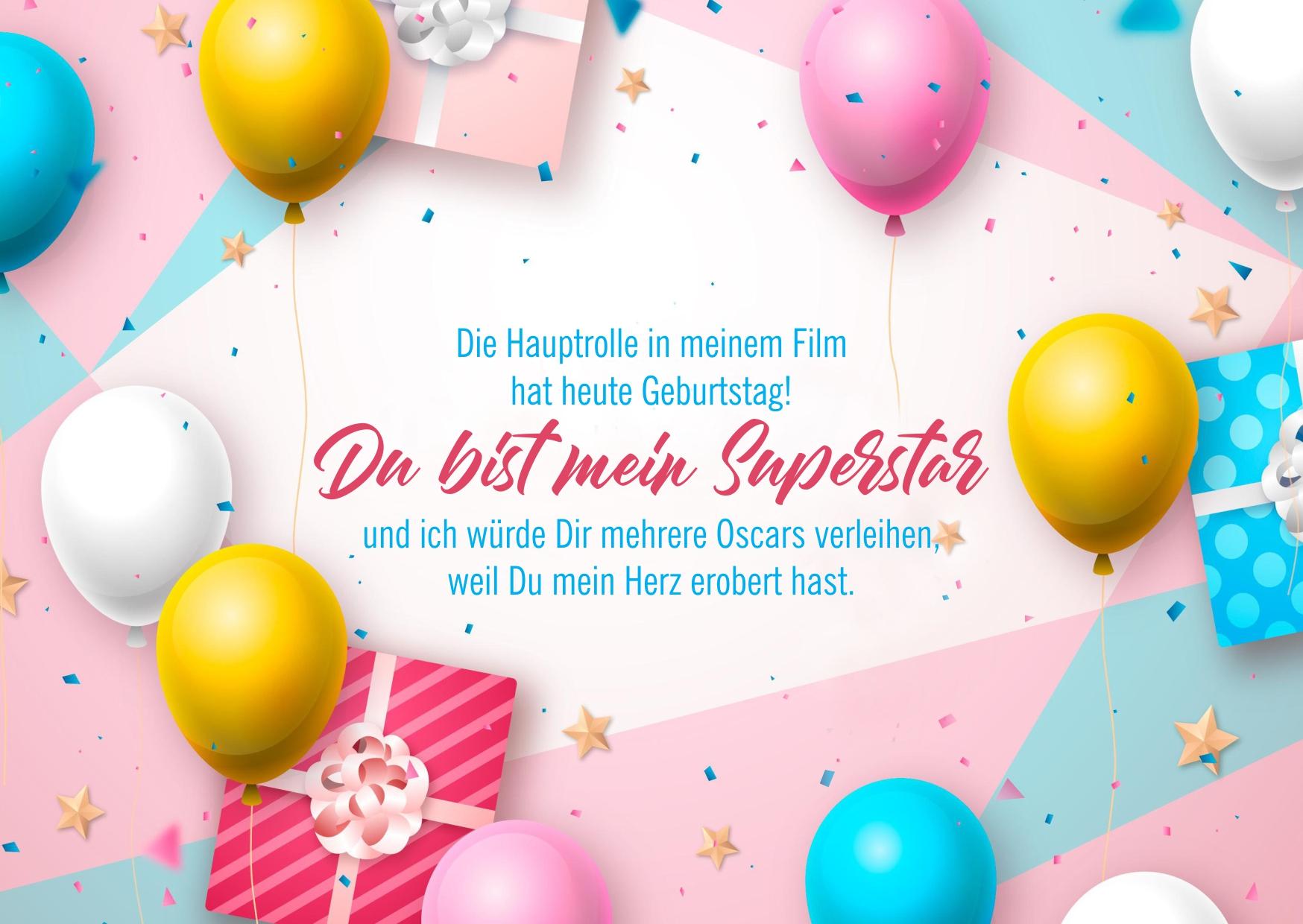 Geburtstagskarte mit Luftballons und Wünschen