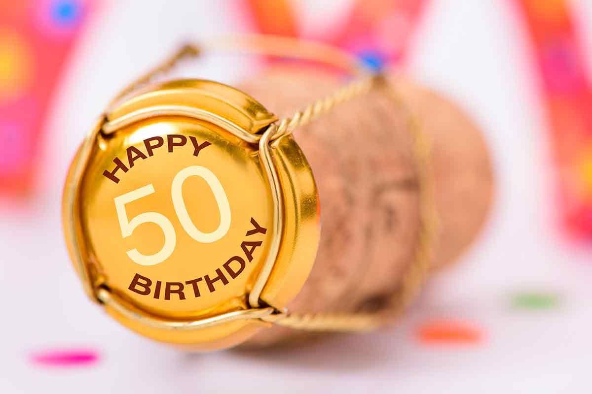 Sektkorken mit 50 und Geburtstagssprüche