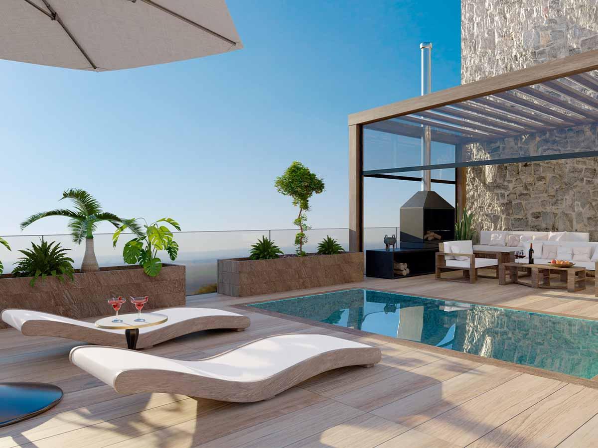 GfK-Pool mit Liegestühlen in Villa