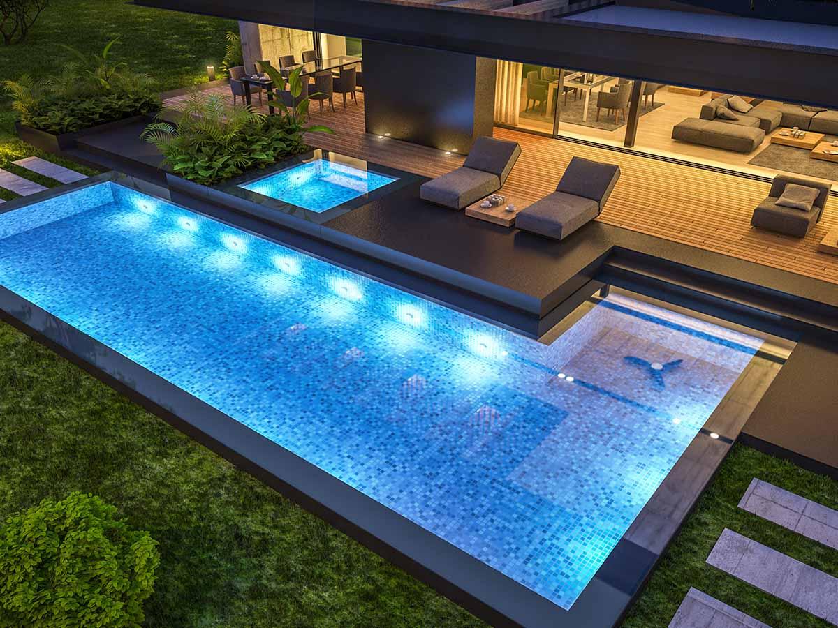 Gfk-Pool mit Unterwasserscheinwerfern