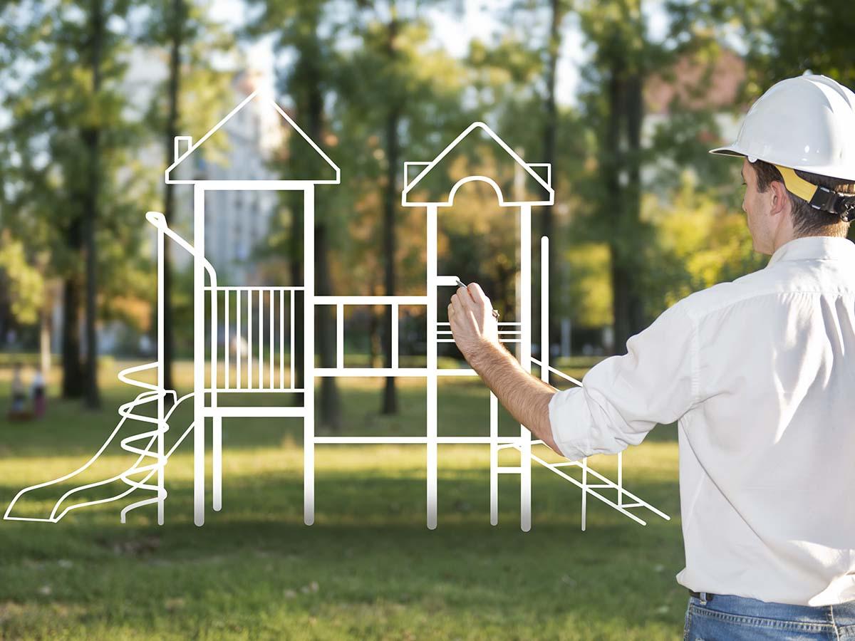 Architekt plant Kinder-Spielplatz