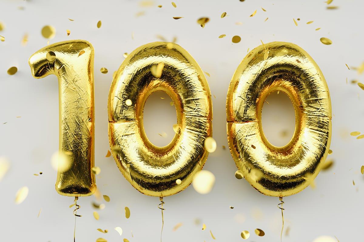 Luftballon zum 100. Geburtstag mit Konfetti