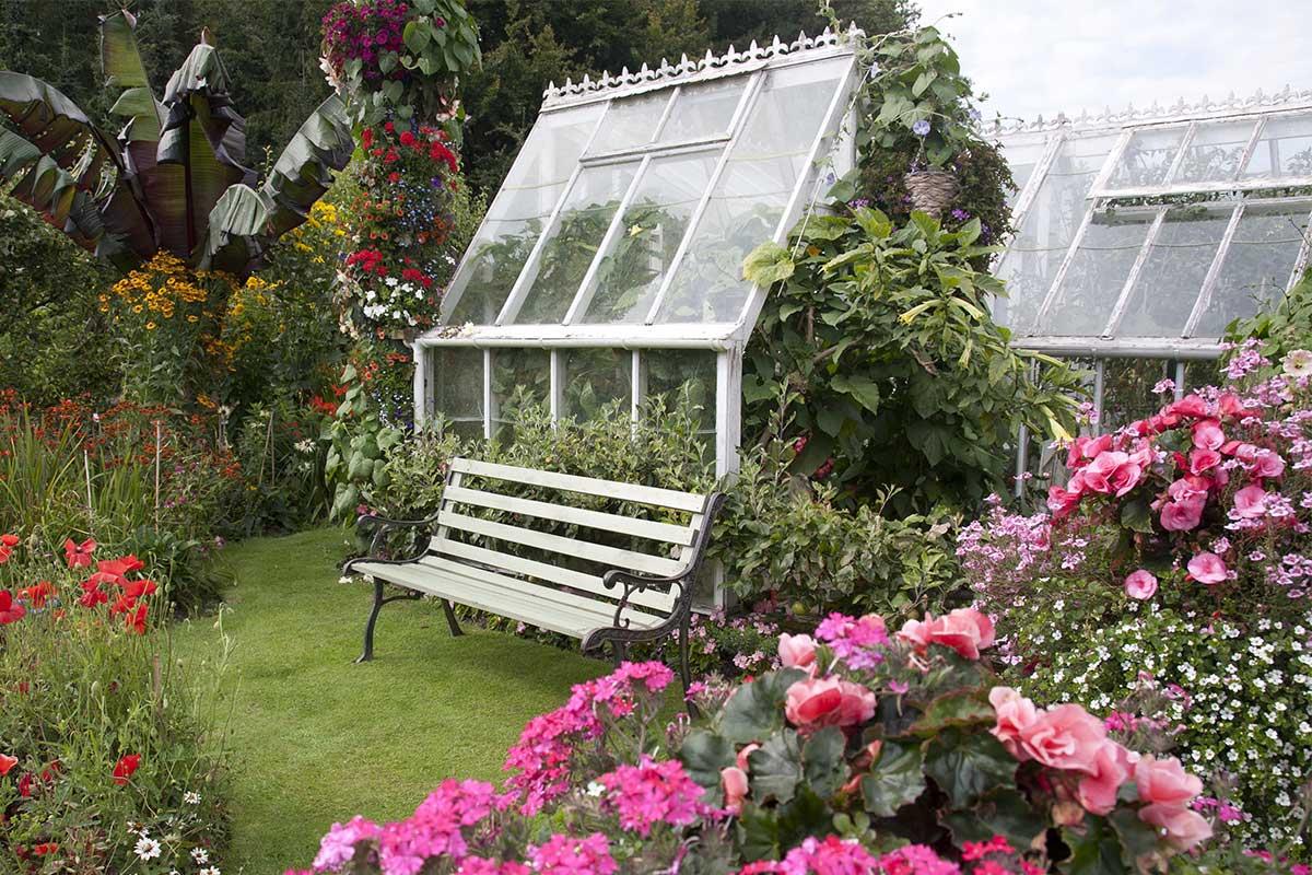 Gewächshaus in einem Cottage Garten